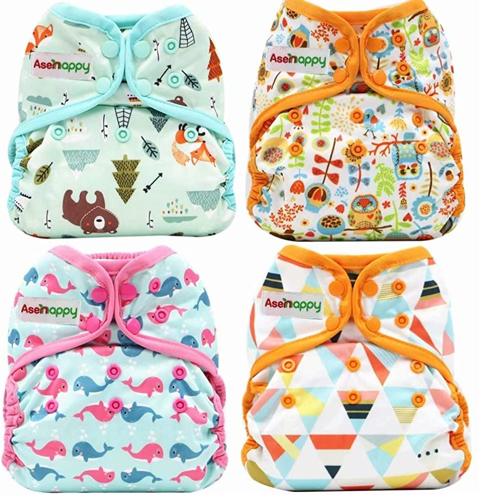 Asenappy One Size Cloth Diaper Cover Snap with Double Gusset