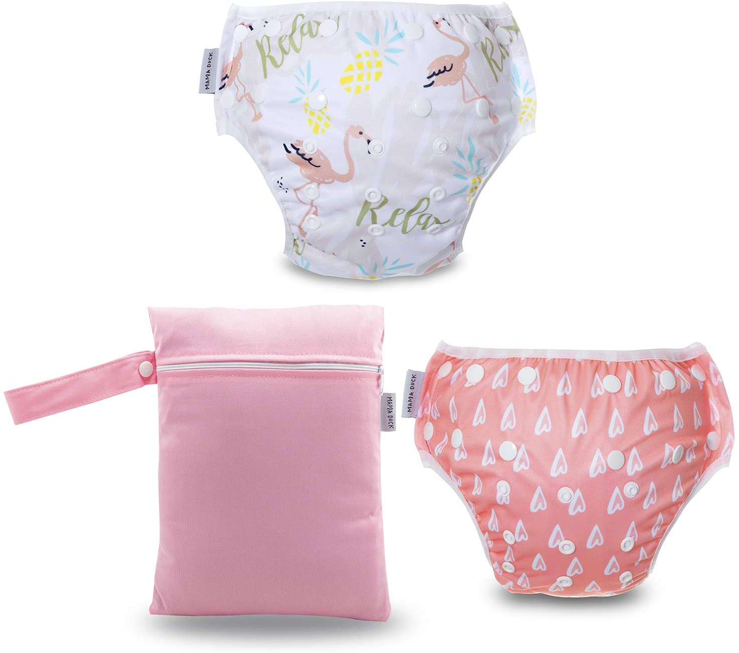 MAMA DUCK Reusable, Adjustable and Washable Baby Swim Diaper Plus Wet Bag. (8-35lbs) 2 Packs Light Pink