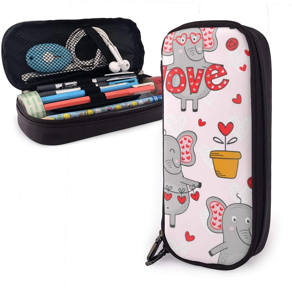 Pencil Case High Capacity Love Cute Elephant Pens Pencil Case with Zipper for School & Office Supplies Pencil Pouch Bag School Stationery Compact Cosmetic Bag