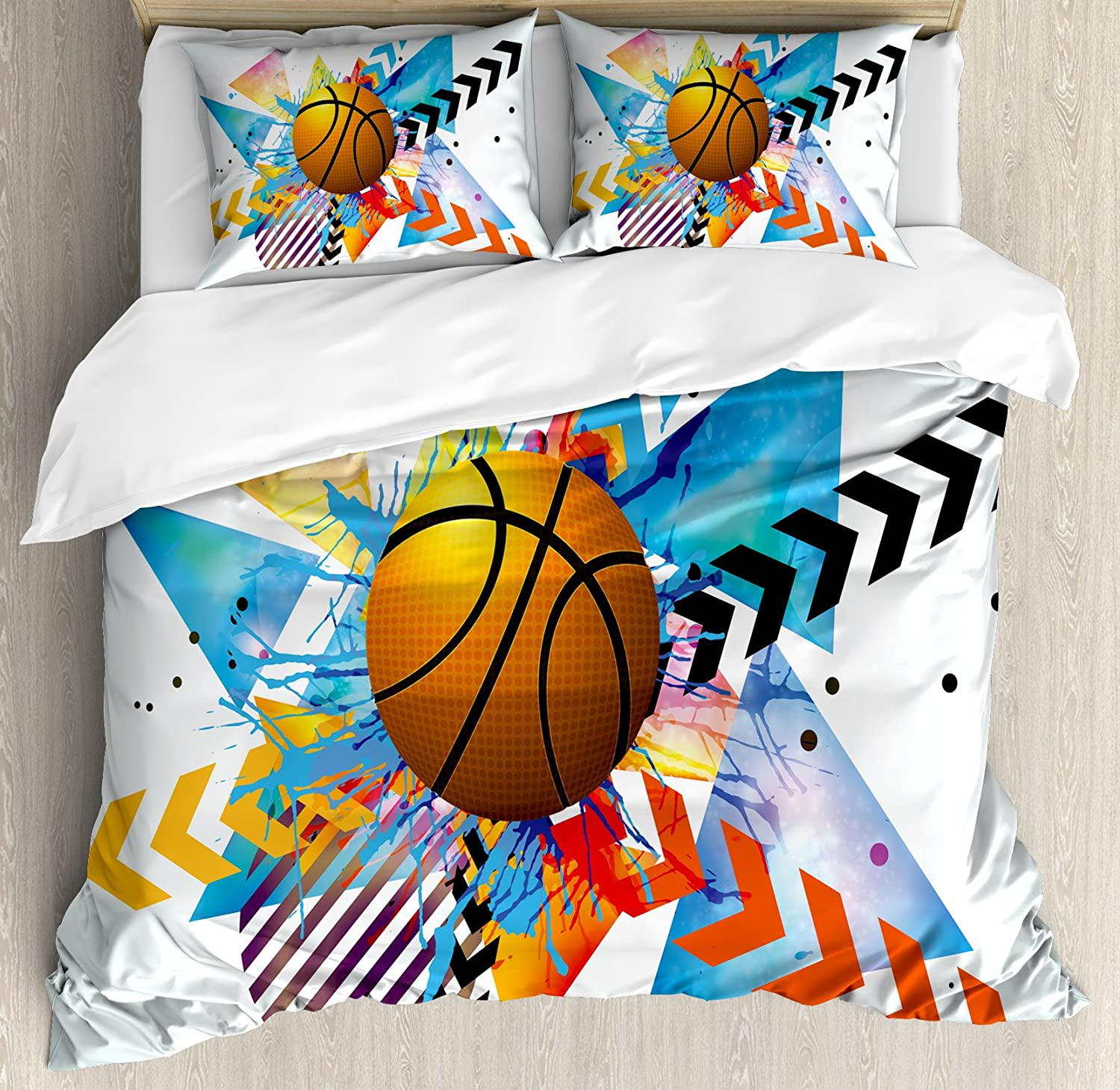 Ambesonne Teen Room Duvet Cover Set, Basketball in Front of Zigzag Circular Geometric Minimalist Forms Graphic Print, Decorative 3 Piece Bedding Set with 2 Pillow Shams, Queen Size, Orange Blue