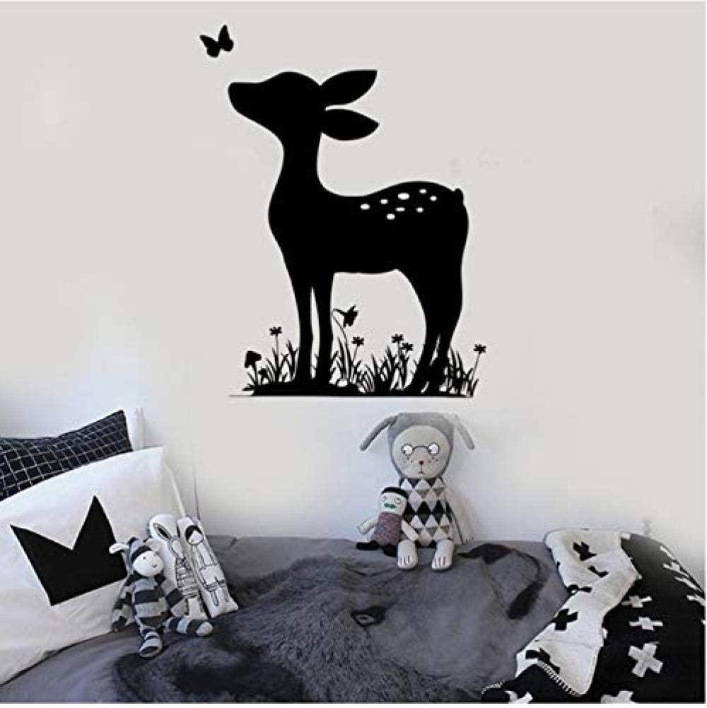 dferh Living Room Wall Stickers Deer Deer Wall Decals Children S Bedroom Vinyl Nursery Wall Stickers Baby Room Animal Decals Detachable Home Decoration Wallpaper Zb048 42X56Cm