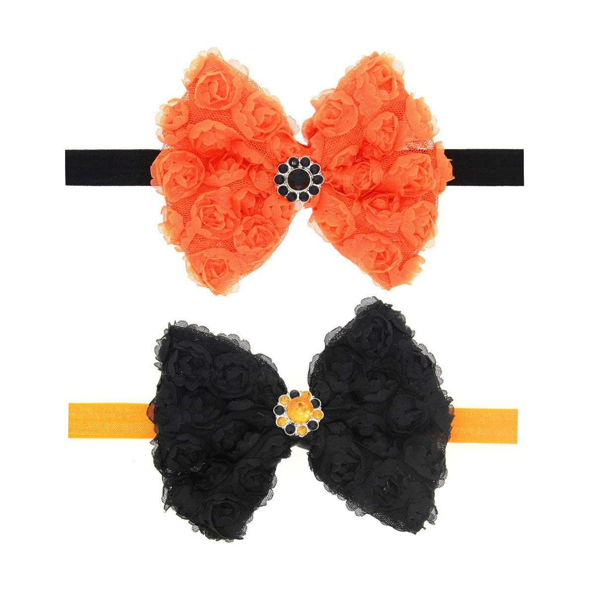 Baby Halloween Headbands Infant Halloween Hair band with Lace Rose Bows JHH06 (Set-2Pcs)