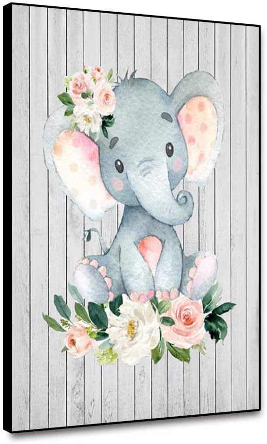 shensu Framed Canvas Wall Art Cute Cartoon Animal Prints Elephant Flowers Artwork Wood Background Wall Decor for Living Room Kids Room Boy Girl Bedroom Bathroom Baby Nursery Home Decor 12x18inch
