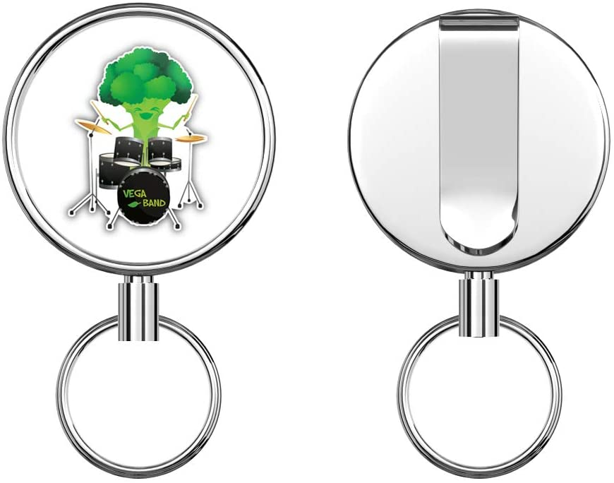 Funny Broccoli Drummer Round ID Badge Key Card Tag Holder Badge Retractable Metal Reel Badge and Key Holder with Belt Clip