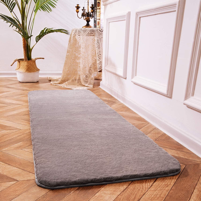 Ciicool Rabbit Faux Fur Rugs Grey Fluffy Rugs Indoor Bedside Rugs Cute Fuzzy Rugs for Bedroom Floor Sofa Living Room Runner 2 x 6 Feet