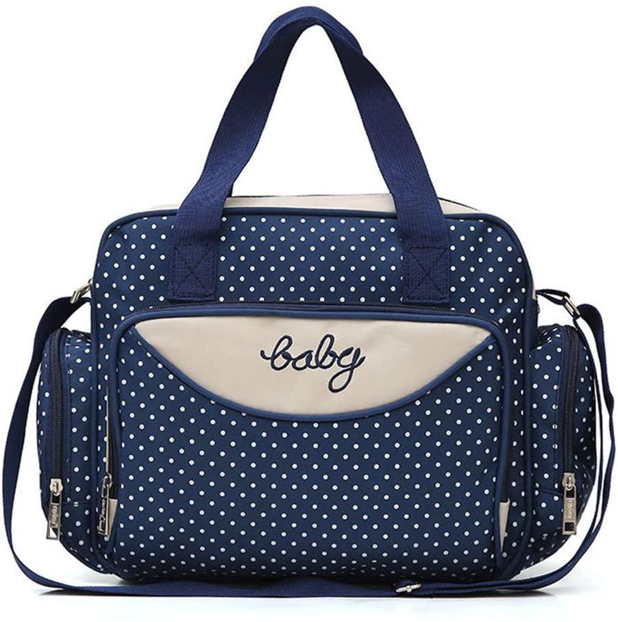 YU-NIYUT Diaper Bag Backpack, 5Pcs/Set Multifuntion Baby Diaper Bag Tote Large-Capacity Polka Dot Mummy Maternity Handbag Bottle Holder, Multifunctional Travel Backpack for Mothers, Nurses, Students