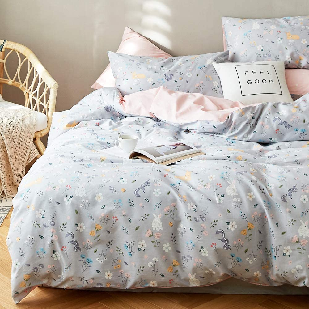 Reversible Girls Bedding Sets Twin Duvet Cover Floral with 1 Duvet Cover for Kids Soft 100% Cotton Cartoon Women Toddler Teen Bedding Set Gift, Flower Bed Set, Twin