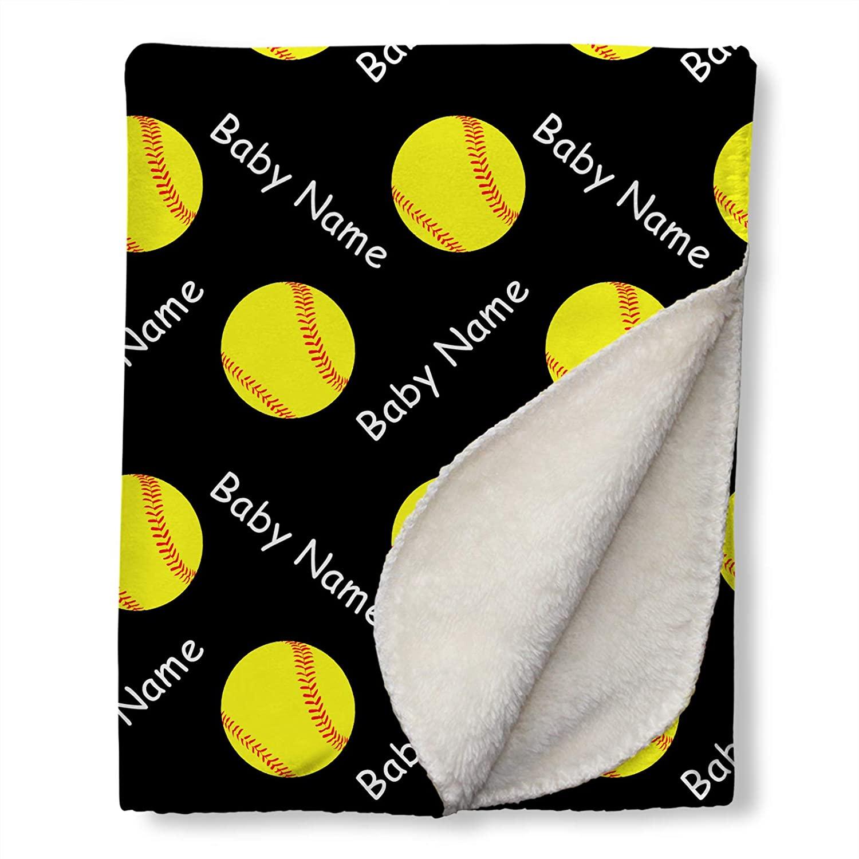 SoftballBlanketPersonalized with Name for Baby Boys - Customized Swaddling Blankets - Soft Plush Sherpa Fleece Receiving Blanket, Black (30