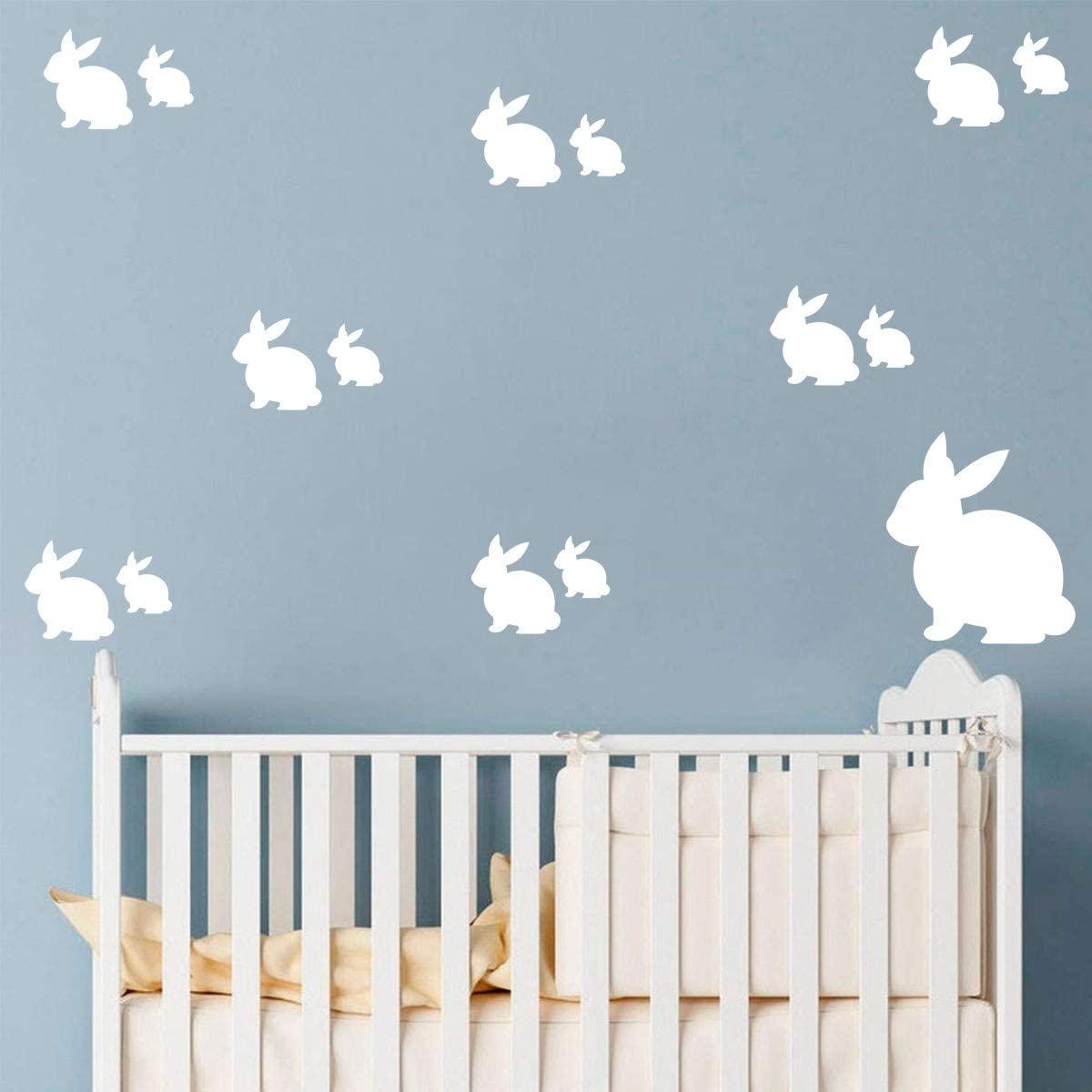 Makeyes Rabbit Animals Wall Stickers Girls Cute Rabbits Sheet Set Wall Decals Vinyl Kids Bedroom Decoration Wall Decor Peel Stick DIY MG013 (White)