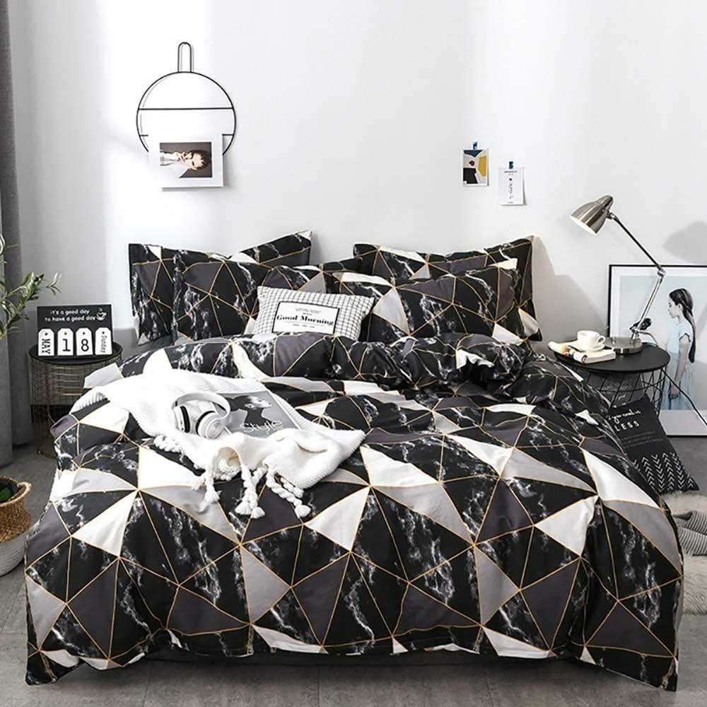karever Black Marble Bedding Duvet Cover Set Twin Kids Gold Triangle Geometric Duvet Covers Cotton Comforter Cover Sets for Children Boys Girls Teens