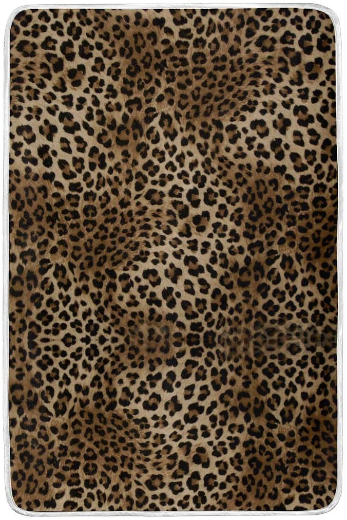 ALAZA Close Up Leopard Spot Pattern Fuzzy Toddler Plush Super Soft Swaddle Blanket Warm Bed Throw Blanket Lightweight 60