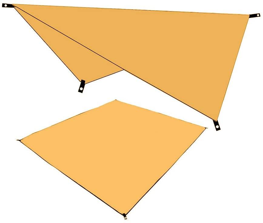 BangJian Outdoor Multifunctional Canopy Camping Moisture-Proof Mat Waterproof Sunscreen 1PC Shade Cloth, 1PC Floor Mat (Orange, Green, Blue) Trekking Tent Structure Single-Layer