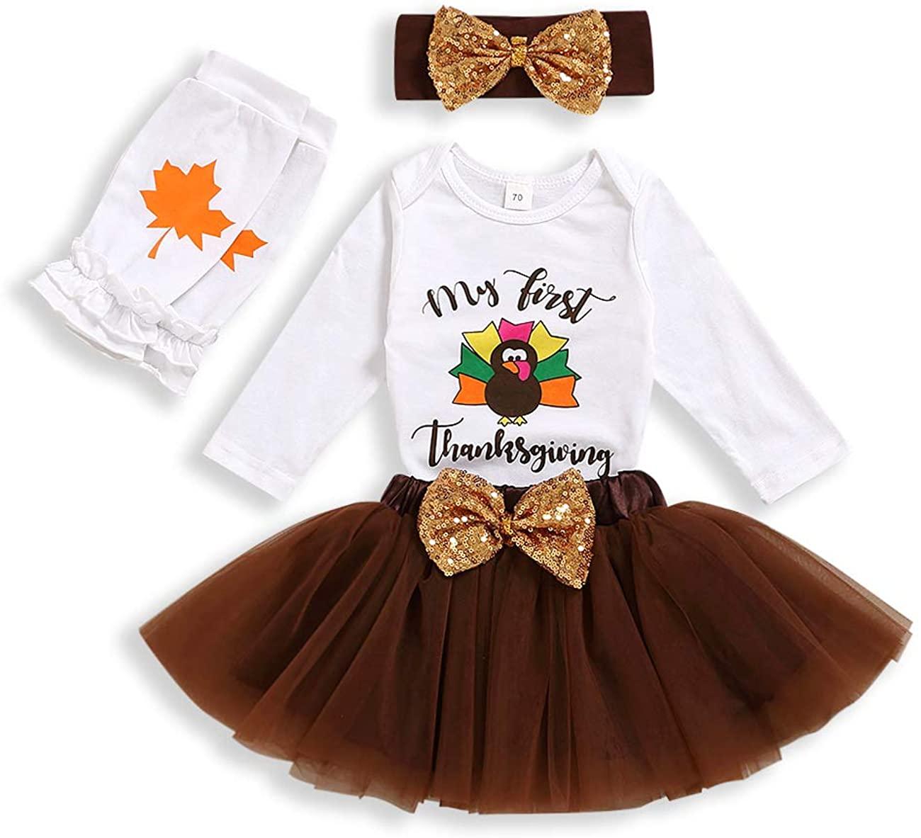 My First Thanksgiving Outfit Newborn Baby Girls Rompers+Skirt+Socks +Headband Set