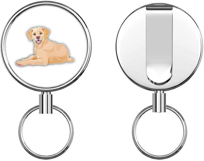 Labrador Retriever Young Dog Retractable Badge Holder Reel Metal ID Badge Holder with Belt Clip Key Ring for Name Card Keychain