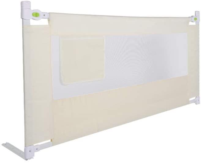 FAMKIT Children Baby Bed Rail, Portable Foldable Children Bed Rail, Beige Metal+Oxford