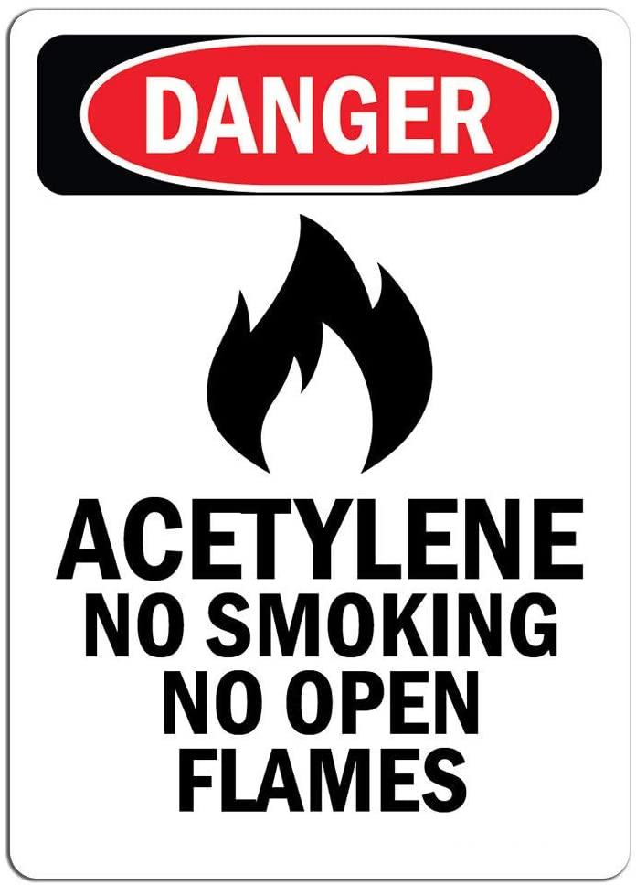 Danger - Acetylene No Smoking No Open Flames | Label Decal Sticker Retail Store Sign Sticks to Any Surface 8