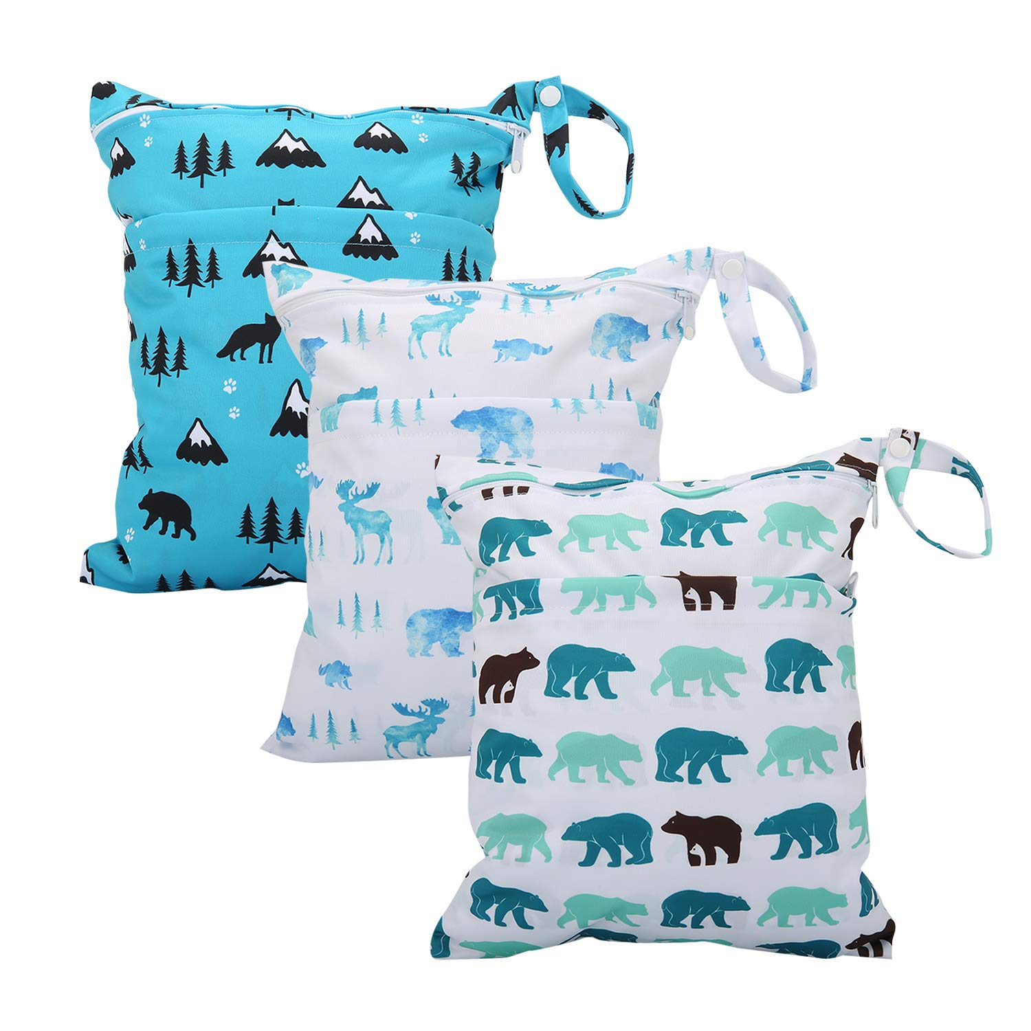 Wet Bag for Cloth Diapers Waterproof Reusable Bags with Two Zippered Pockets Polarbear Wet Dry Bag Travel Beach Pool Yoga Gym Bag for Pump Swimsuits Wet Clothes 3pcs