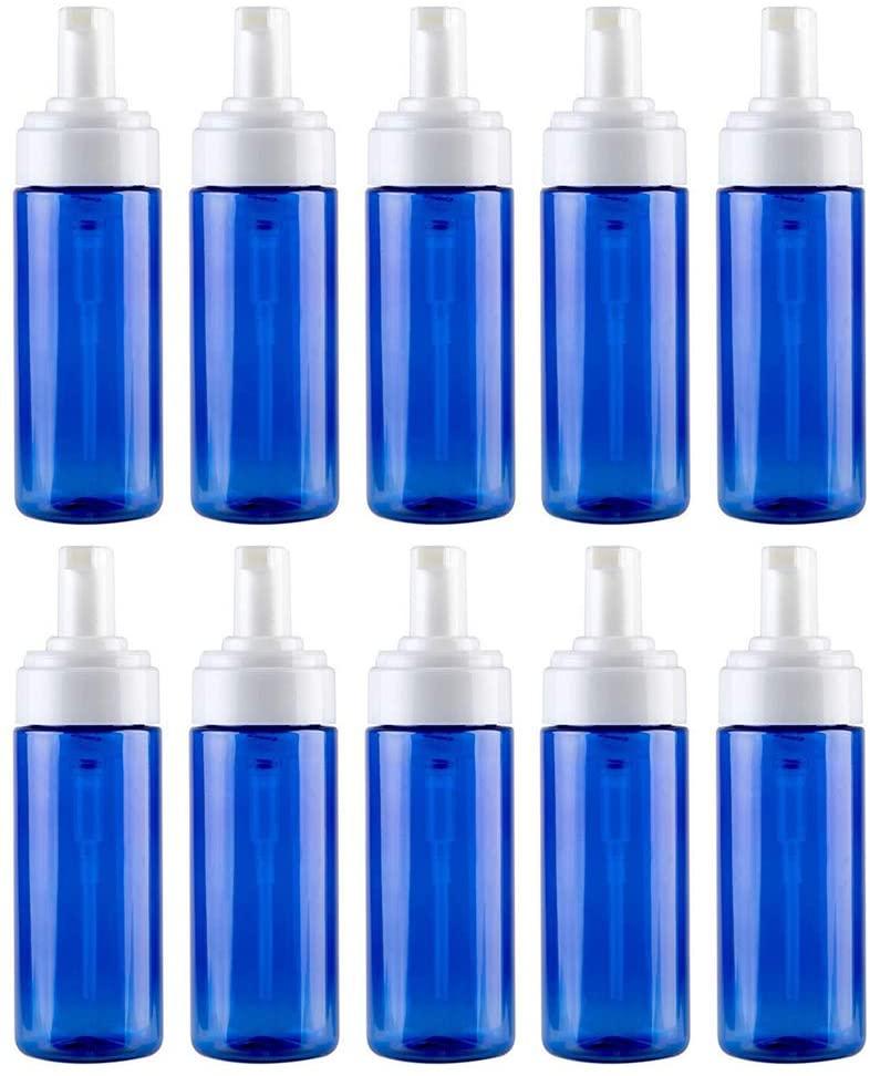MoreChioce 10PCS 100ML Empty Foam Bottle,Plastic Refillable Soap Dispenser Pump,Foaming Soap Bottle for Shampoo,Liquid Soap,Cleanser,Blue