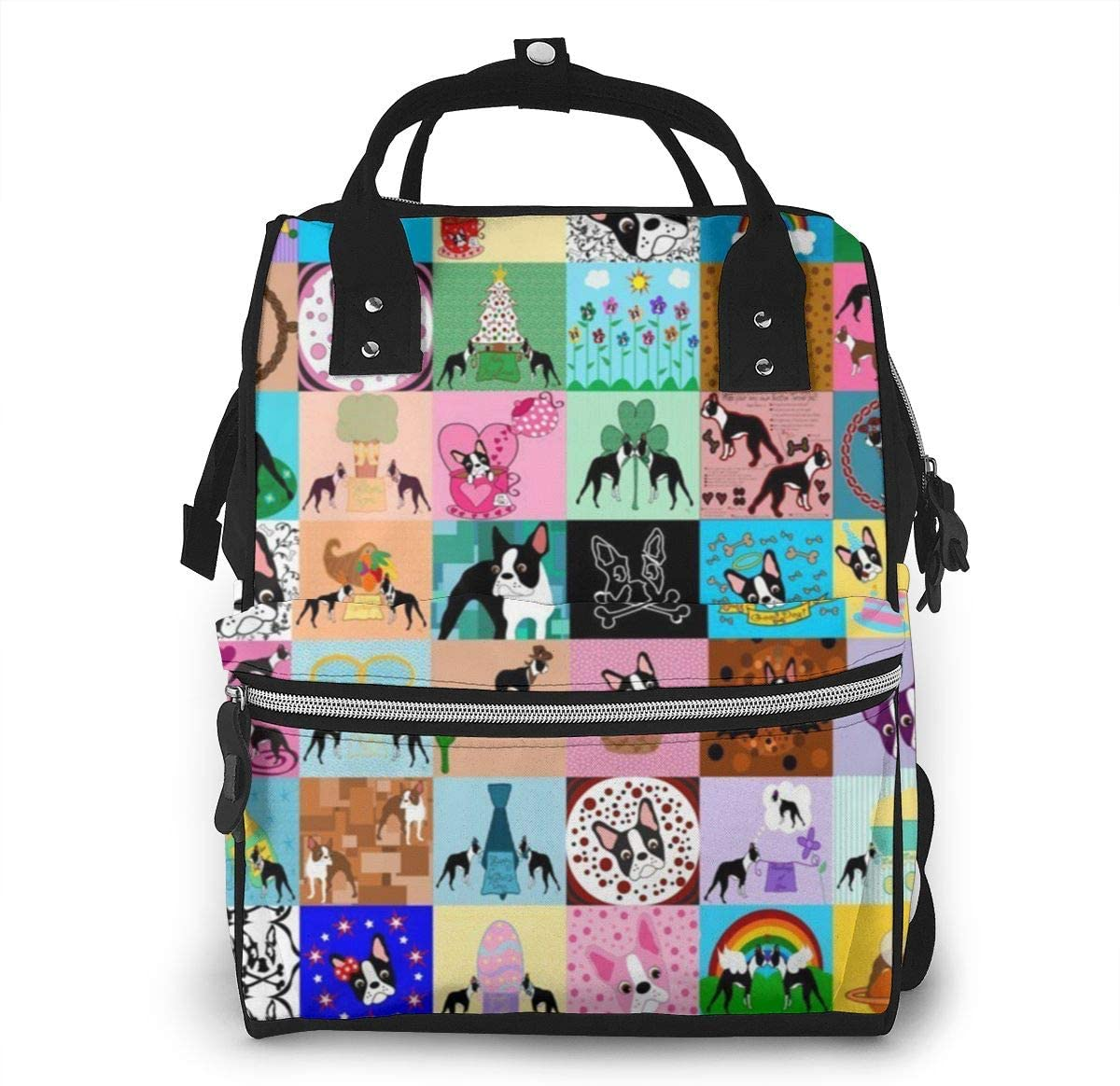 NiYoung Diaper Bag Backpack,Stylish Baby Nappy Bags for Mom and Dad,Waterproof,Multi-Function Travel Back Pack for Boys and Girls,Large Capacity and Durable,Crazy Faux Boston Terrier