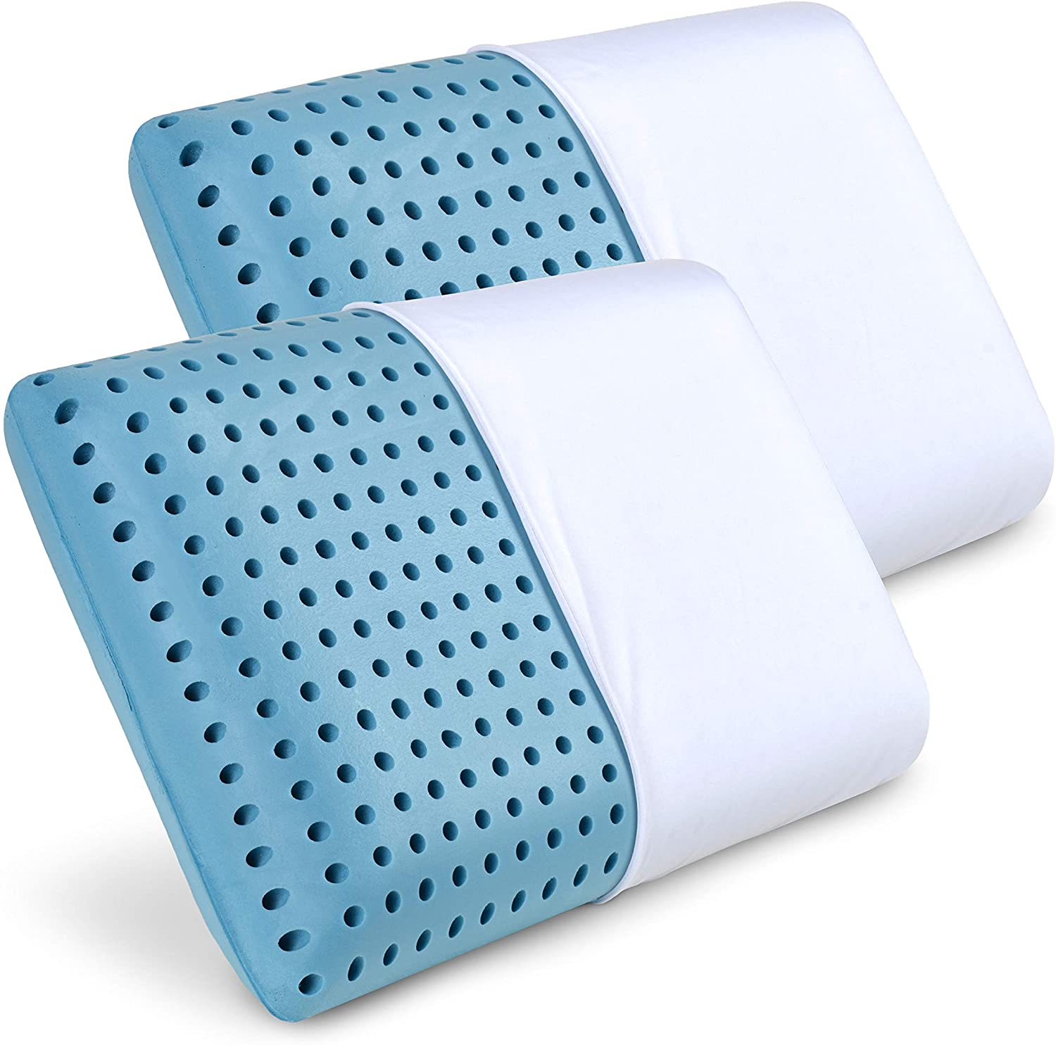 PharMeDoc Cooling Blue Memory Foam Pillow (2 Pack) Ventilated Hole-Punch Memory Foam Bed Pillow Infused with Cooling Gel - Removable Pillow Case