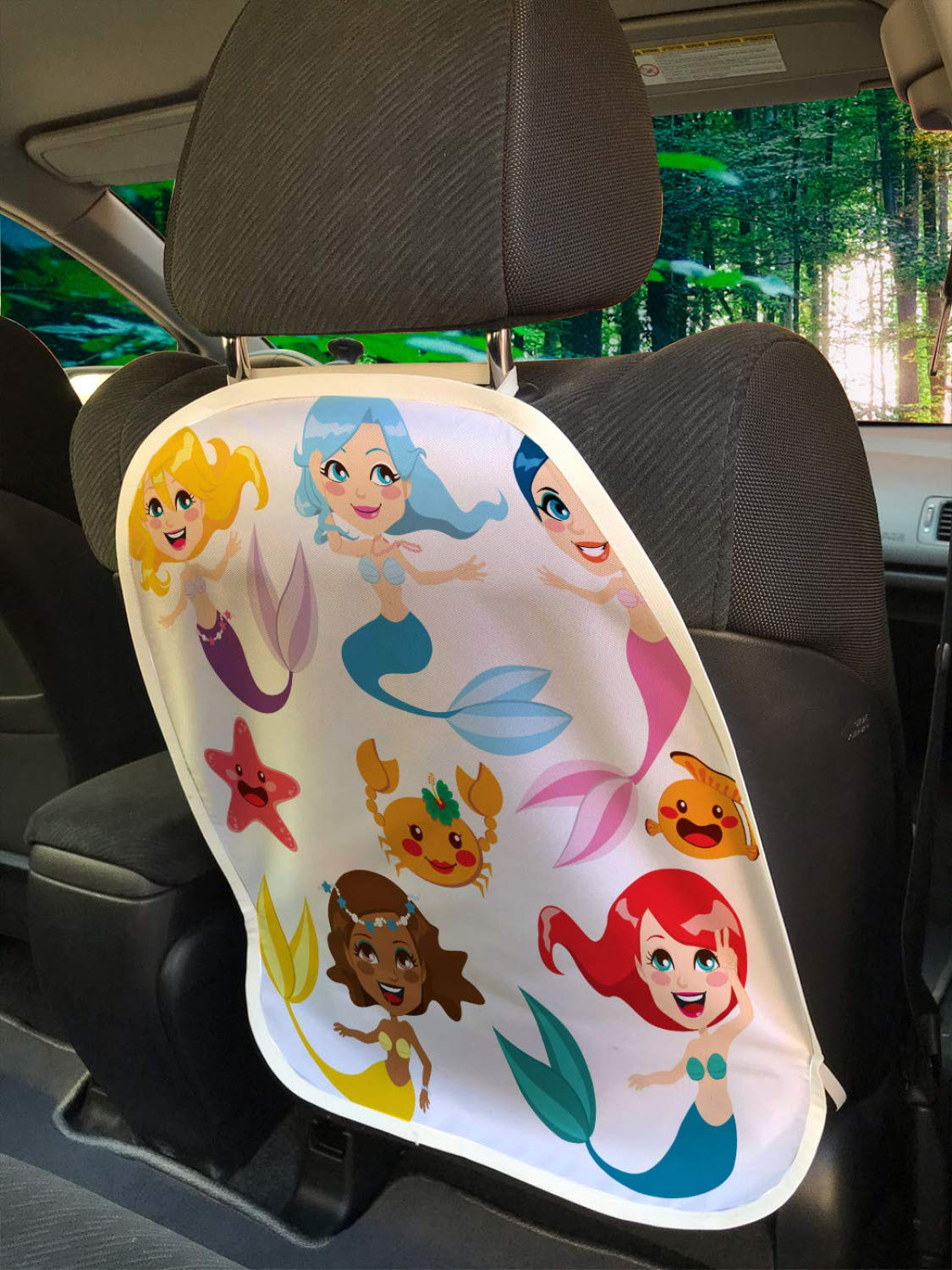 Ambesonne Underwater Car Seat Protector Set of 2, Illustration of Colorful Mermaids and Sea Friends Kids Cheering Joyful, Universal Kick Mat for Dirt Mud & Scratches, 18