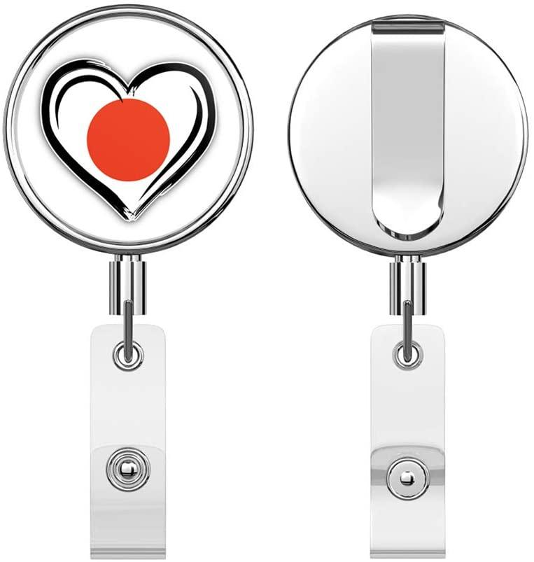 Japan Grunge Heart Flag Round ID Badge Key Card Tag Holder Badge Retractable Reel Badge Holder with Belt Clip