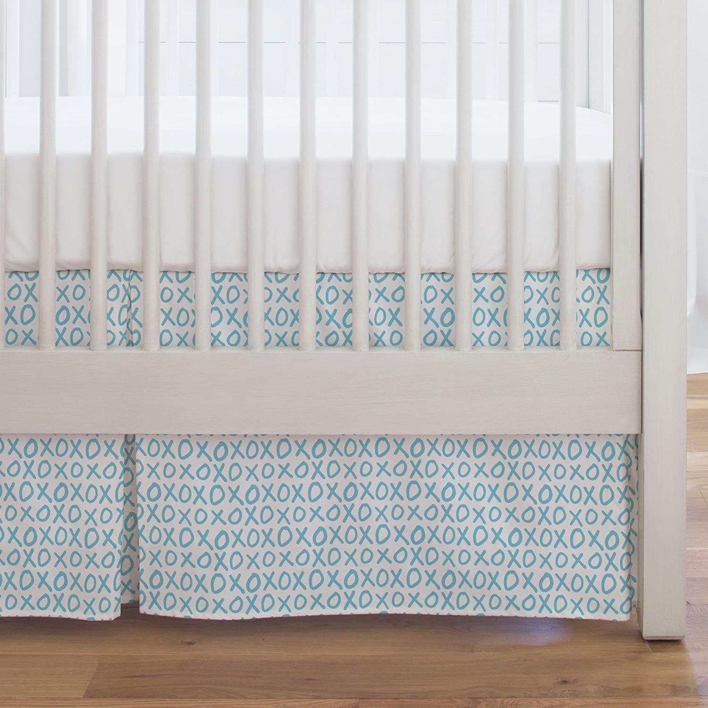 Carousel Designs Aqua XO Crib Skirt Single-Pleat 17-Inch Length - Organic 100% Cotton Crib Skirt - Made in The USA