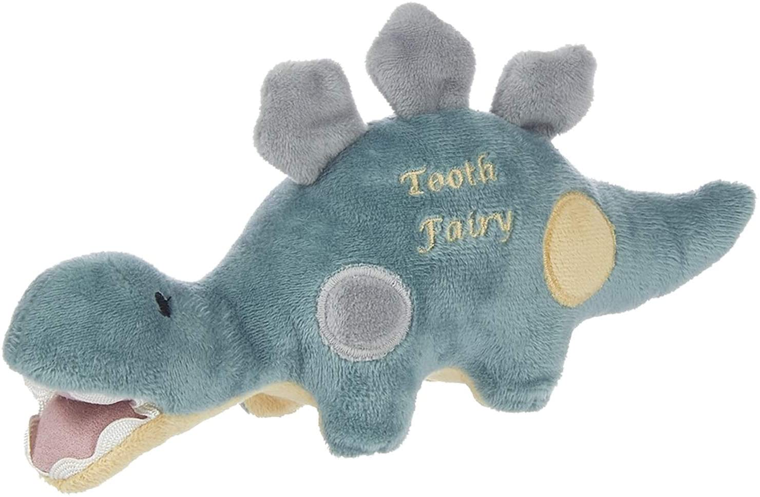 Maison Chic | Dino The Dinosaur Tooth Fairy Pillow Stuffed Animal Plush Figure with Pocket | Perfect First Loose Tooth Gift for Son, Grandson, Stepson, Nephew | Celebrate First Milestone