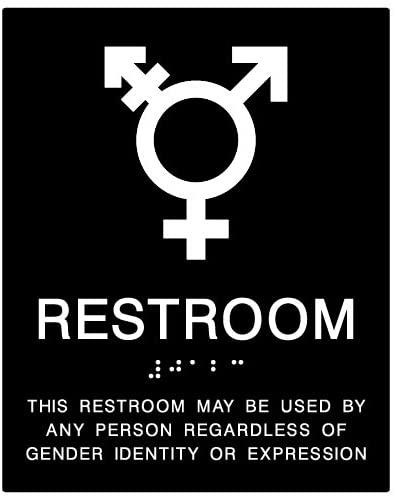 STOPSignsAndMore - ADA Compliant Gender Neutral Symbols Restroom Wall Sign - 8x10 (Black)