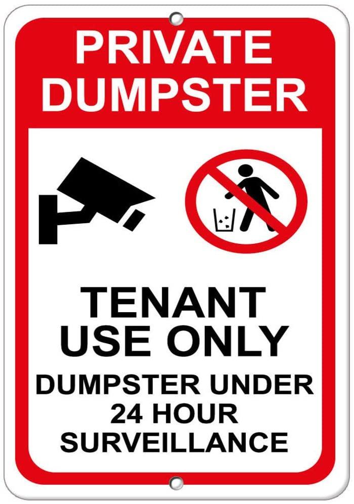 Private Dumpster Tenant Use Dumpster 24 Hour Surveillance Vinyl Sticker Decal 8