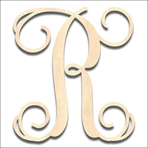 Back40Life - Precision Cut Vine Wood Monogram Letter - 6-inch Unfinished R