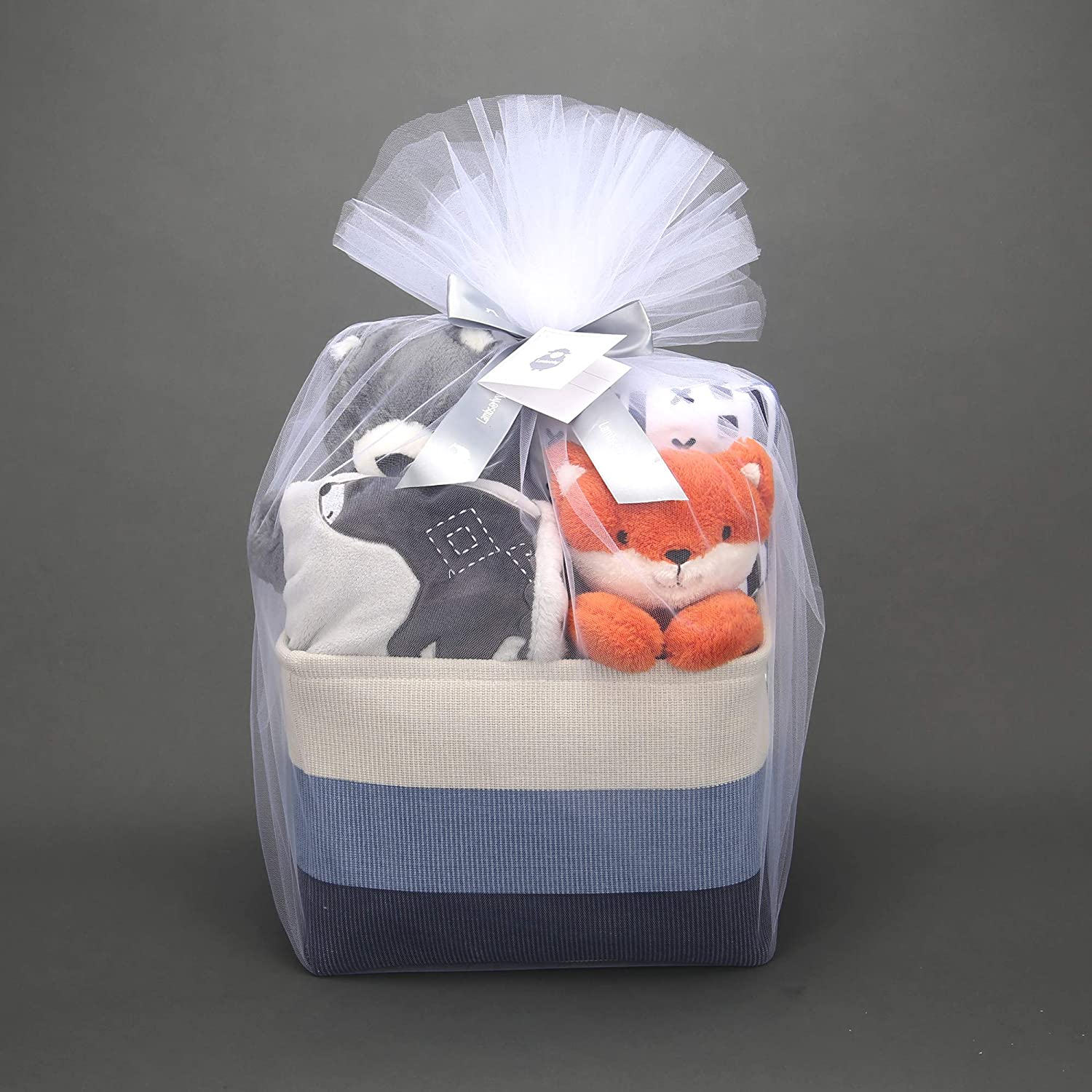 Lambs & Ivy Blue 5-Piece Baby Gift Basket for Baby Shower/Newborn Welcome Home