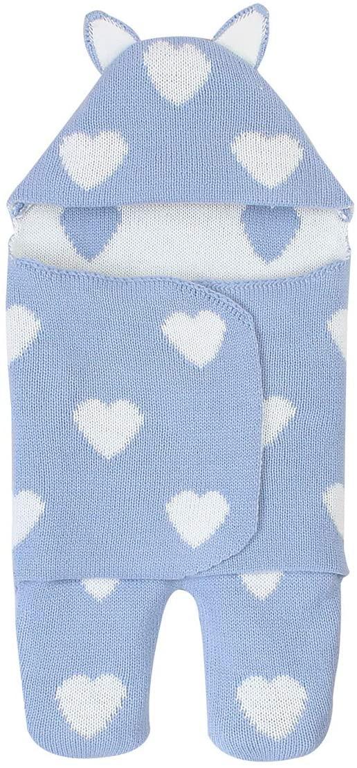 Nuolate2019 Newborn Knit Wrap Baby Blanket Swaddle Infant Stroller Wrap Sleeping Bag Sleep Sack for 0-3 Months Boys & Girls Baby(Light Blue)