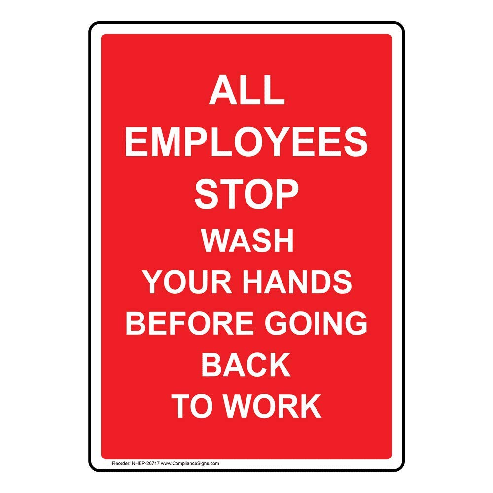 Vertical All Employees Stop Wash Your Hands Before Going Back to Work Label Decal, 5x3.5 in. 4-Pack Vinyl for Handwashing by ComplianceSigns