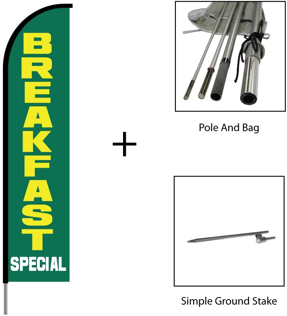 Breakfast Banner Sign Swooper Feather Flag Pole Kit Outdoor Restaurant Business Sign Display, 15ft - Green