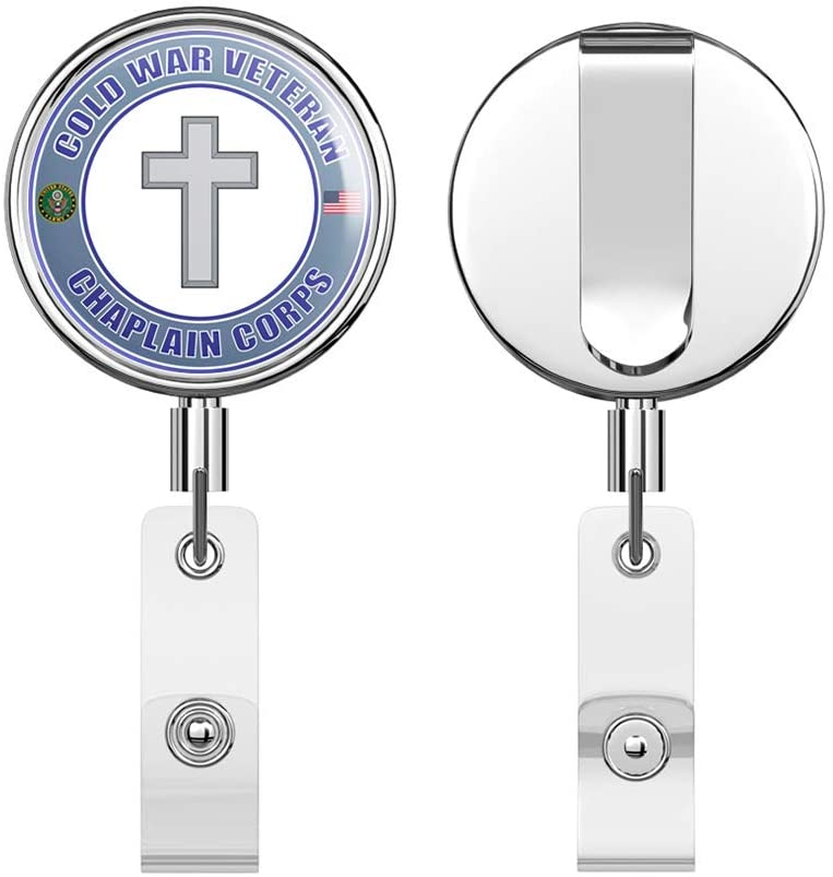 U.S. Army Cold War Christian Chaplain Round ID Badge Key Card Tag Holder Badge Retractable Reel Badge Holder with Belt Clip