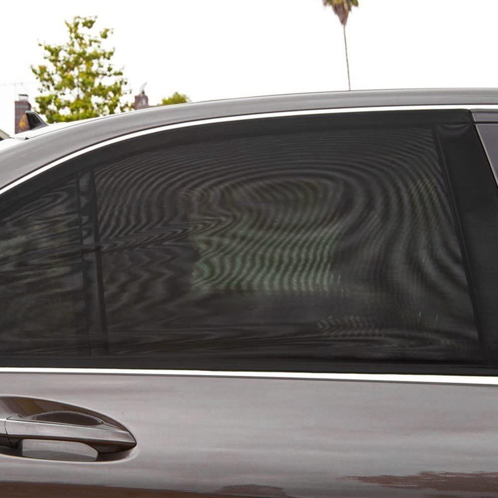 2Pcs Universal Car Side Window Sun Shade Breathable Mesh Sun Shield UV Rays Protection Auto Vehicle Trucks SUV Rear Window Curtain Folding Sun Visor Net