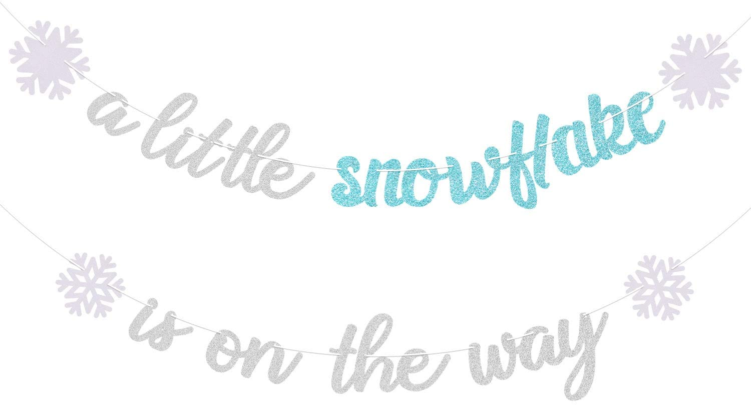 A Little Snowflake Is On The Way Banner Winter Snowflake Theme Banner Decorations for Baby Shower Christmas Wonderland Winter Holiday Party Decor Birthday Party Supplies