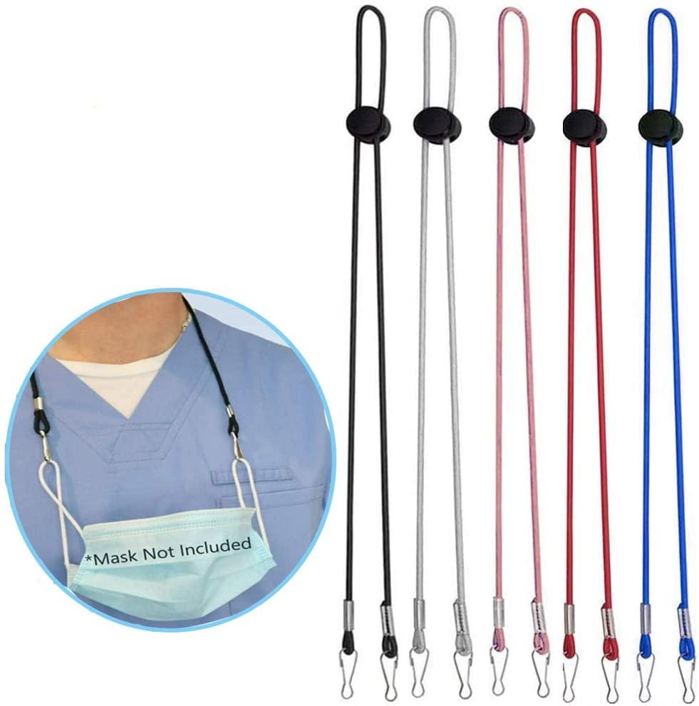 5 PCS Adjustable Mask Lanyard with Mask Holder Clip Convenient Safety Mask Holder Hanger Comfortable Around The Neck Rest for Women Men Kids