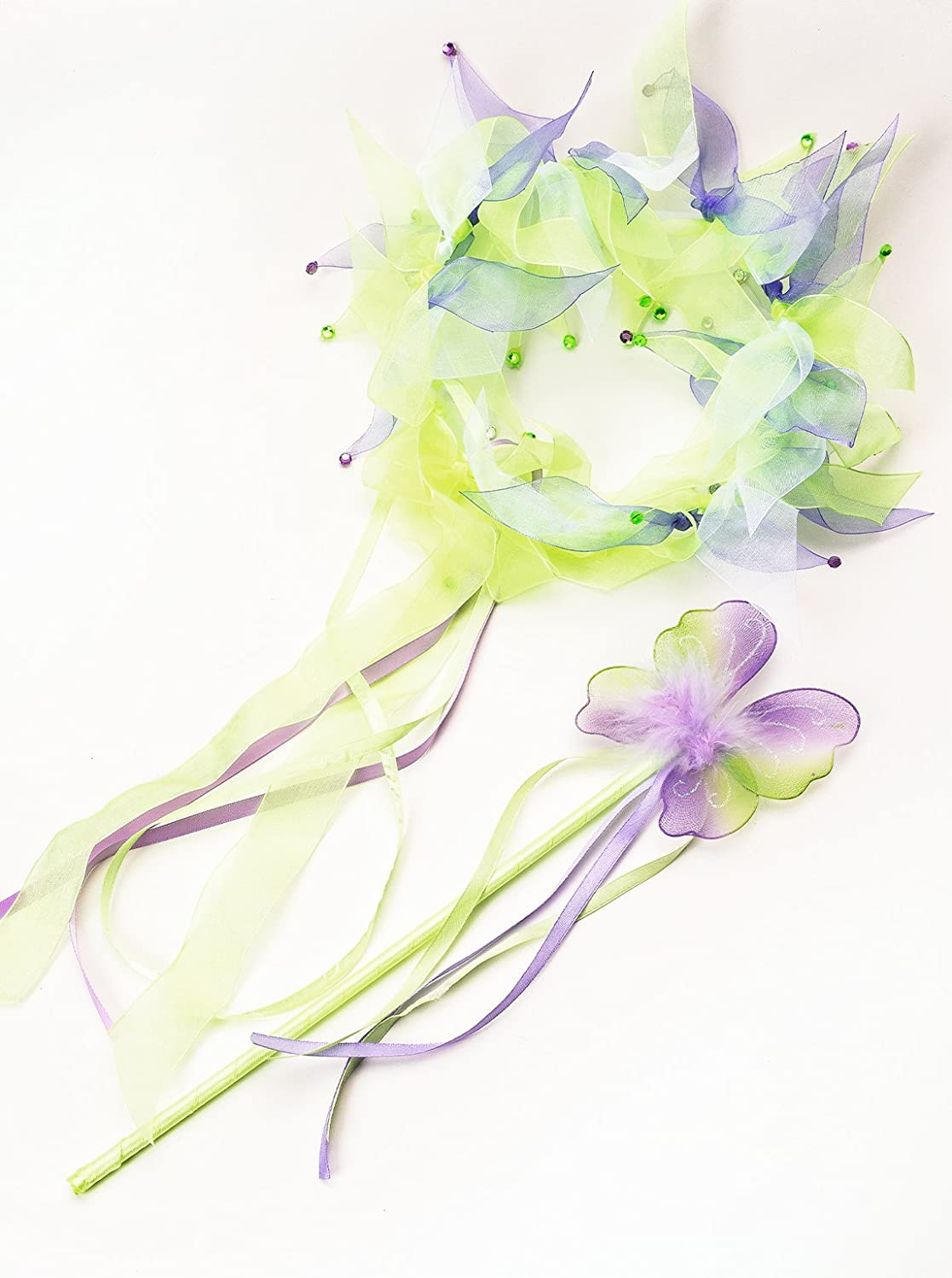 Little Adventures Fairy Halo & Wand Child Accessory Set - Green (Tinkerbell)