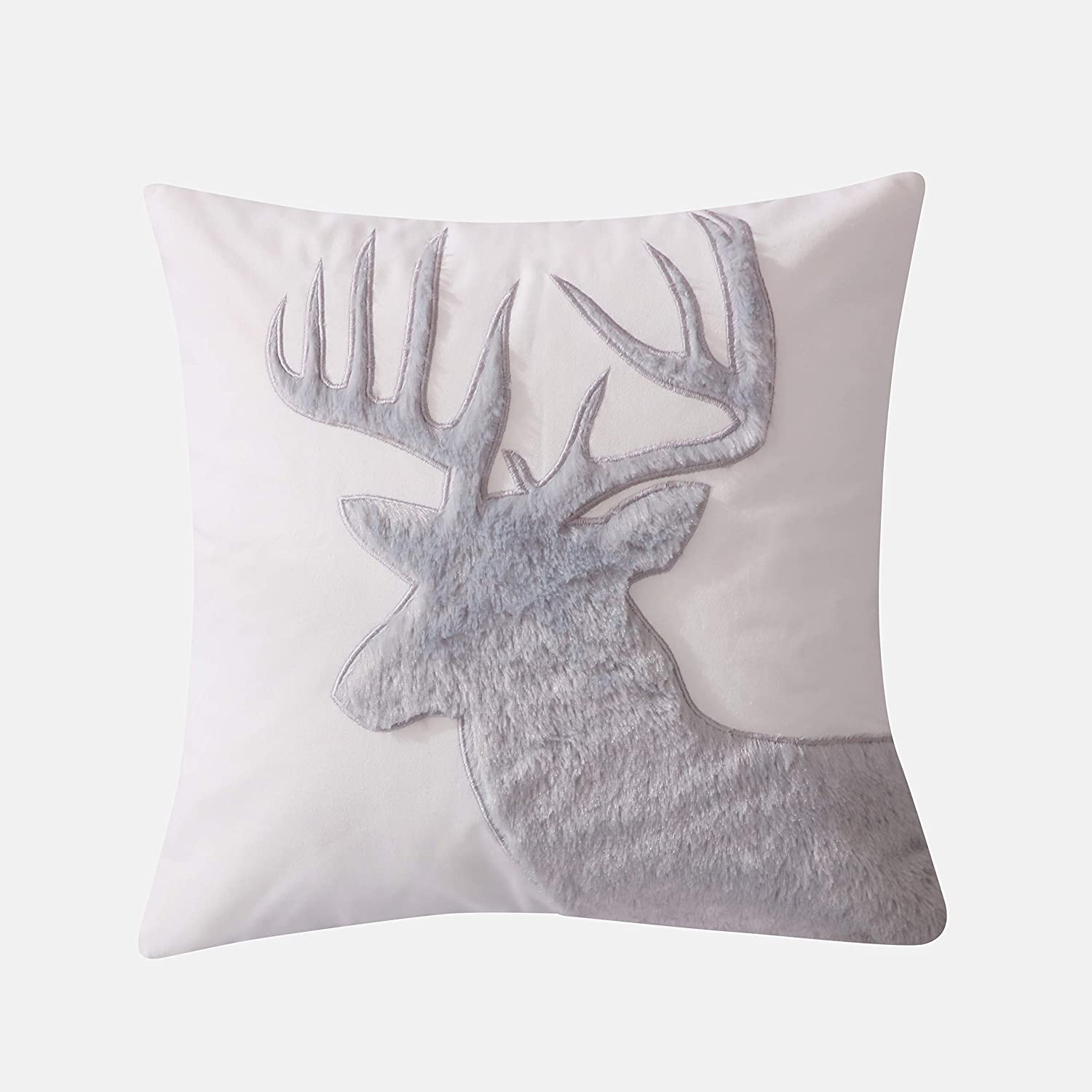 Levtex Home - Camden -Decorative Pillow (18X18in.) - Faux Fur Moose - Grey and Cream
