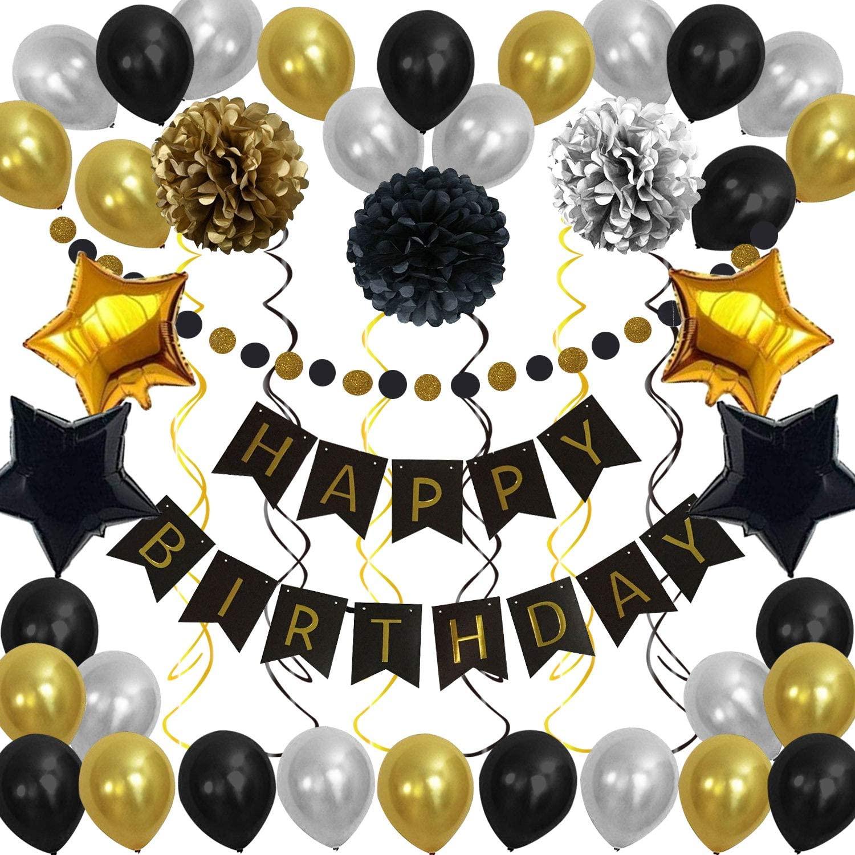 Birthday Decorations Gold and Black Happy Birthday Banner + 3pcs Paper Pom Poms Flowers + 30pcs Party Balloons + 4pcs Foil Star Balloons + Gold Glitter Garland + 6pcs Hanging Swirls Party Decoration(46pcs) for Women Men Kids