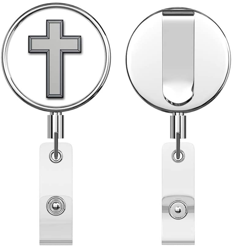 US Army Christian Chaplain Corps Round ID Badge Key Card Tag Holder Badge Retractable Reel Badge Holder with Belt Clip