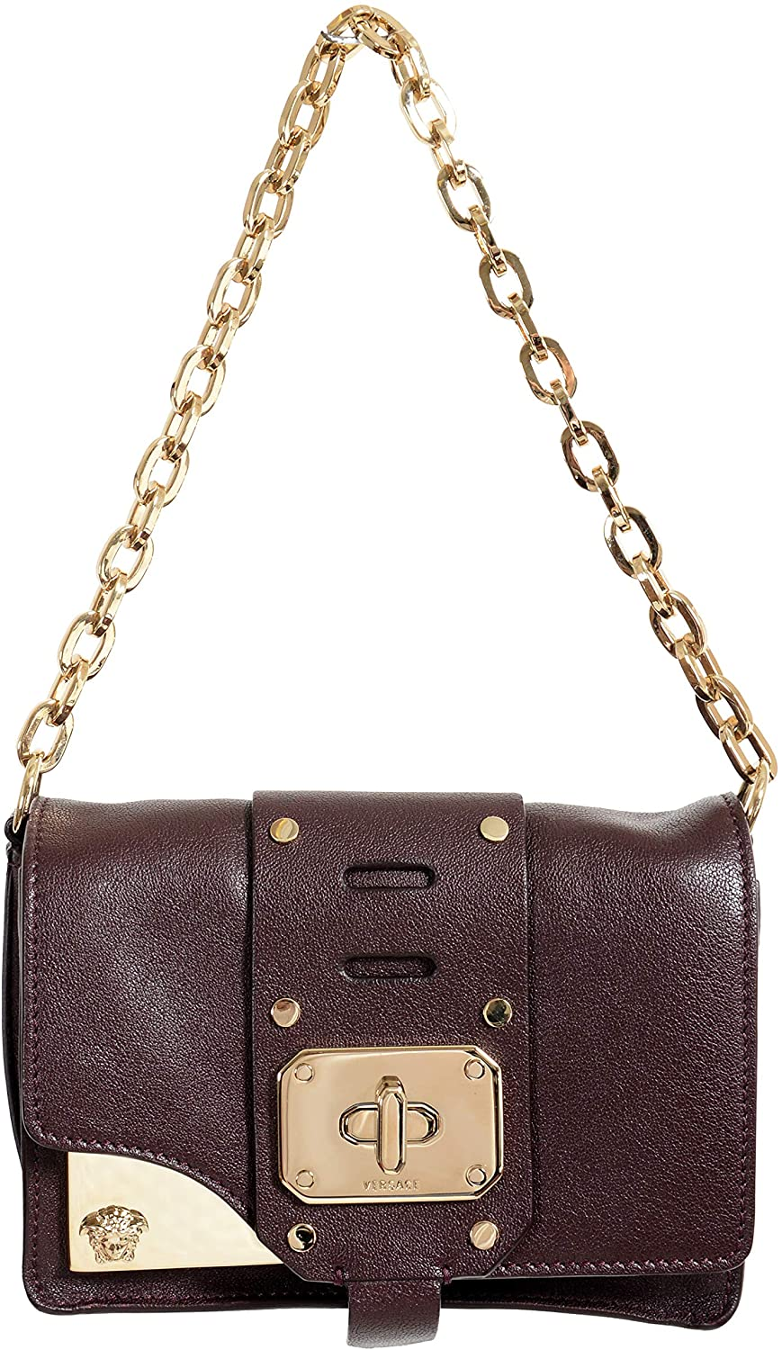 Versace 100% Leather Burgundy Womens Crossbody Shoulder Bag