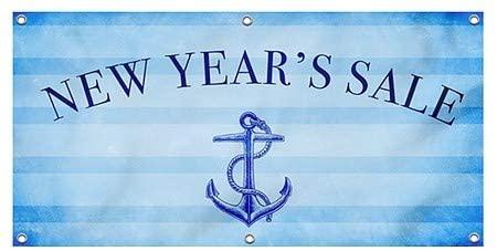 CGSignLab |New Years Sale -Nautical Stripes Heavy-Duty Outdoor Vinyl Banner | 4x2