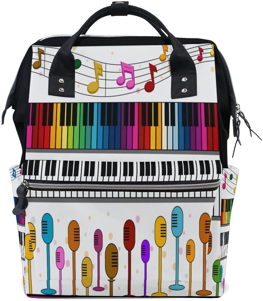 ALAZA Music Note Canvas Backpack Tote Bag Mummy Nappy Travel Nurse Bag