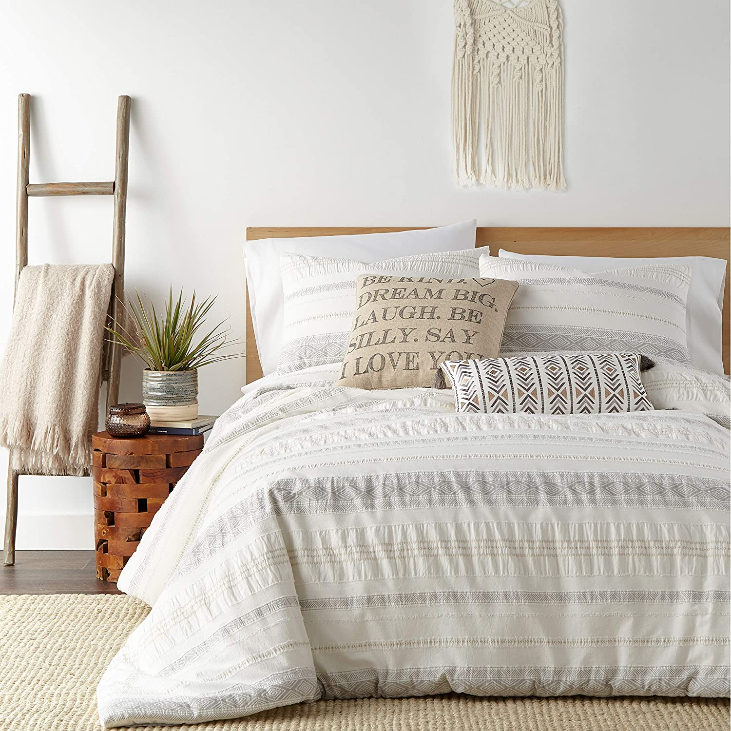 Levtex home - Pickford Duvet Cover Set - Twin Duvet Cover + Two Standard Pillow Cases - Grey, Taupe, Off-White - Jacquard Tribal - Duvet Cover (68 x 88in.) and Pillow Case (26 x 20in.) - Cotton