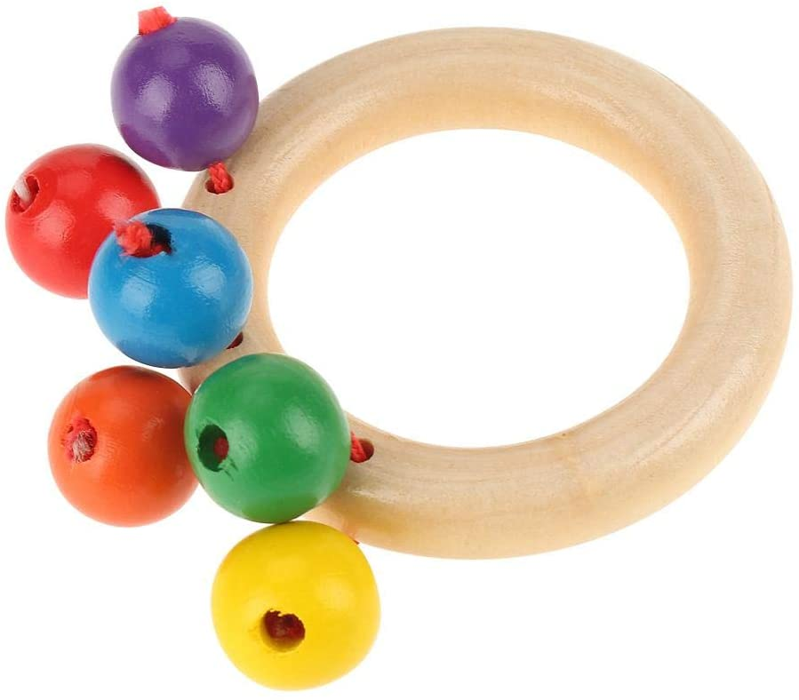 Oumij Wooden Baby Rattle Toy Four Types Baby Safe Wooden Rattles Grasp Toy Infant Early Musical Educational Toys(Ring)