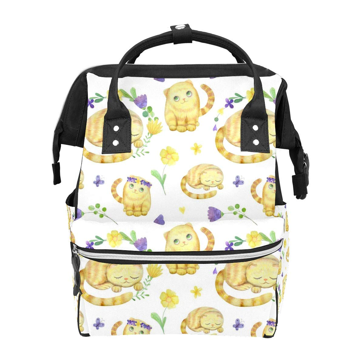 Diaper Bag Backpack Watercolor Flowers Cute Cat Multifunction Travel Back Pack Baby Changing Bags Large Capacity Waterproof Stylish