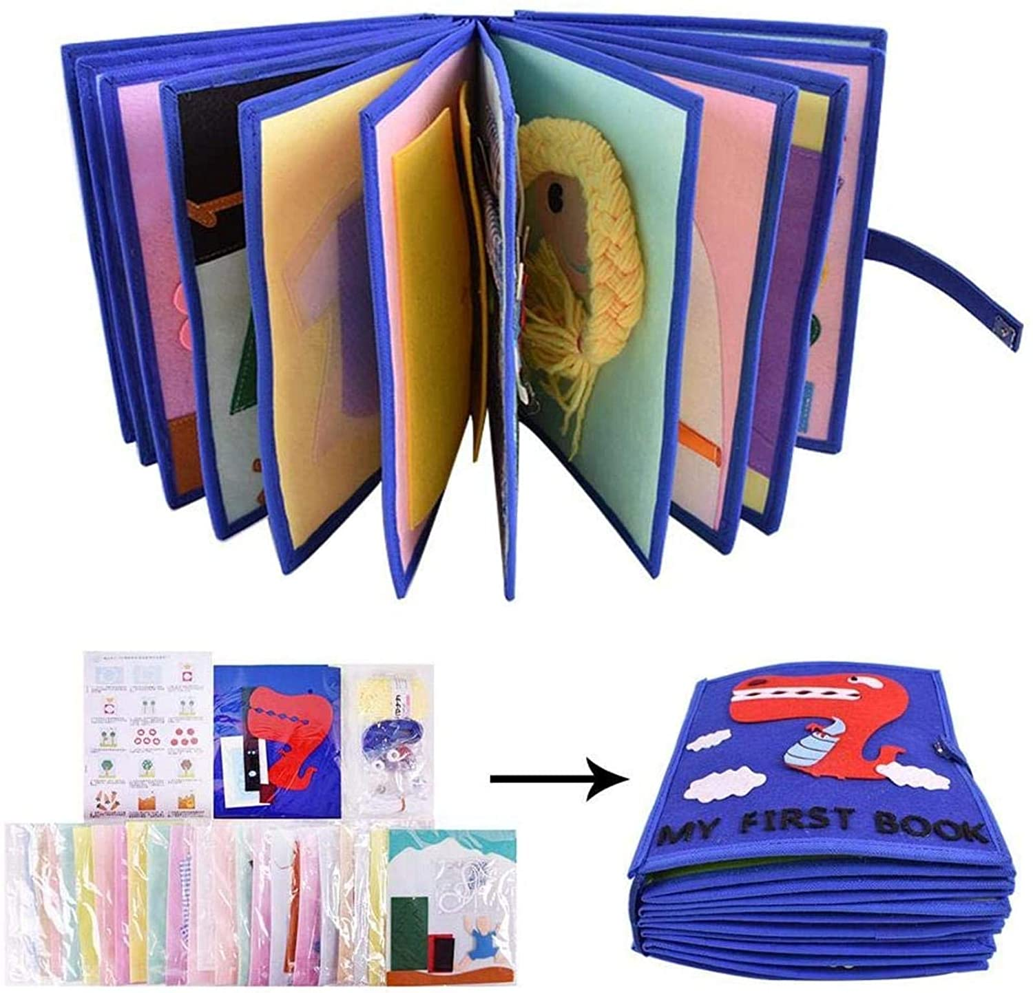 DIY Cloth Books Baby, My First Soft Cloth Book, Nonwoven Material Package Parent Child Cloth Book Set, Cut Free Cloth Book, Simulate Various Life Scenarios, 22 Pages